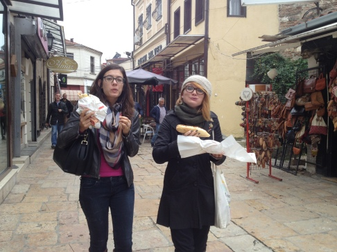 Walking and eating on these cobblestone streets is no joke.